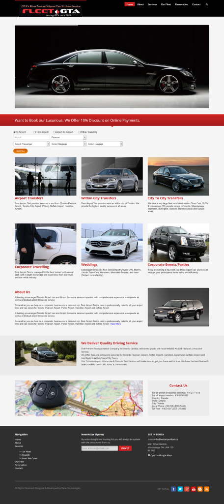 web design for rent a Limousine Car or Taxi